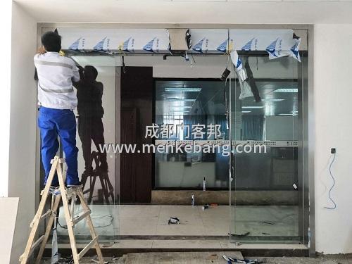 感应玻璃自动门,龙泉玻璃门自动门安装定制厂家案例